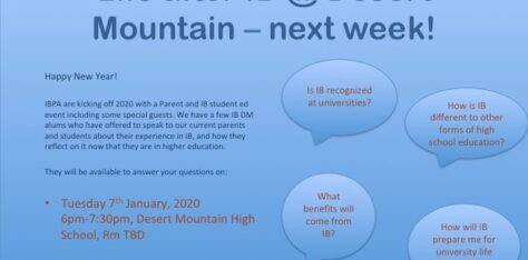 "IB Student/Parent Education Night – Jan 7th, 6-7:30p – ""Life after IB"""